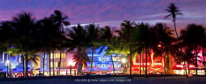 Art deco area with hotels at dusk, Miami Beach, Miami, Florida, USA